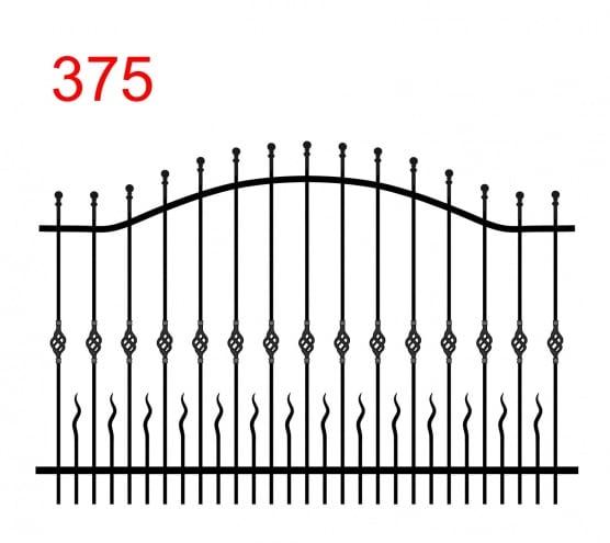 Zaunmuster mit zwei oberen Gliedern in Form eines Bogens mit leicht vorspringenden Stäben, die in Kugeln enden und kleinen Stäben zwischen den Gliedern mit gewellten Enden und einem Muster auf den Zacken in der Mitte