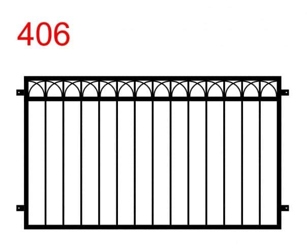 einfaches Zaun- oder Geländerdesign mit miteinander verbundenen Bögen in der Mitte