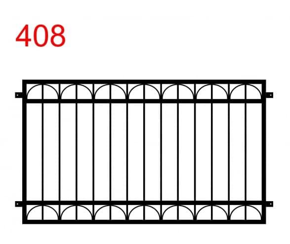 einfaches Zaun- oder Geländerdesign mit abgerundeter Ober- und Unterseite