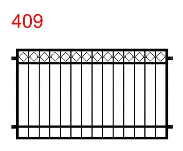 einfaches Zaun- oder Geländerdesign mit einer Spur von ineinandergreifenden Rauten auf der Oberseite