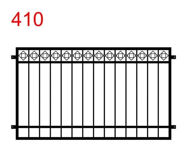 einfache Zaun- oder Balustradenkonstruktion mit einem Falzweg mit Quadraten an der oberen Fuge