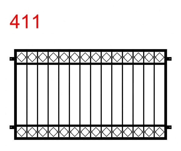 einfaches Design für Zäune oder Geländer mit einem Nahtmuster an der oberen und unteren Verbindung
