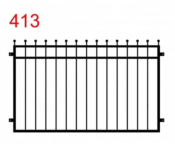 einfaches Zaun- oder Geländerdesign mit leicht über den Zaun hinausragenden Stäben, die in einem kugelartigen Muster enden