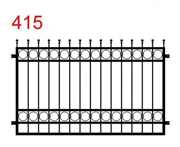einfaches Zaun- oder Geländerdesign mit leicht vorstehenden Stäben über den Zaun, die in einem Kugelmuster enden und einem Kreismuster zwischen den Gelenken
