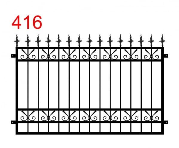 ein Zaun oder Geländer mit einem Muster aus geraden Elementen, die am Ende zwischen den Gelenken leicht abgerundet sind, und einem dolchartigen Muster mit einer gewellten Klinge