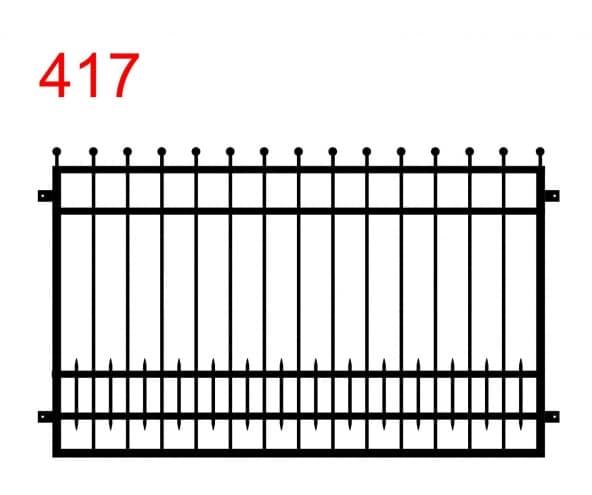 Muster eines Zauns oder einer Brüstung mit leicht vorstehenden Stäben, die in Kugeln enden und mit zusätzlichen kleinen Stäben im unteren Anschluss
