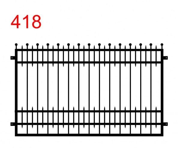 Muster eines Zauns oder einer Brüstung mit leicht vorstehenden Stäben, die in Kugeln enden und mit zusätzlichen kleinen Stäben zwischen den Gelenken