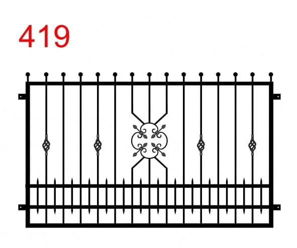 Muster für Zäune oder Balustraden mit leicht vorstehenden, in Kugeln endenden Stäben und einem Muster, das einer aufgelösten Blume in der Mitte ähnelt, Stäben zwischen den Gelenken und einem besonderen Muster in der Mitte