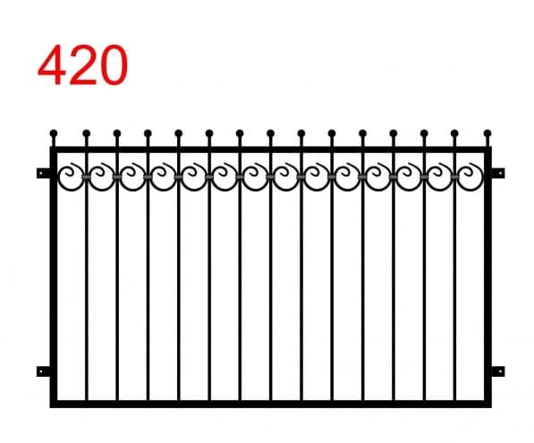 Muster eines Zauns oder einer Balustrade mit leicht vorstehenden Stäben, die in Kugeln enden, und einem Muster aus speziellen Kreisen unter dem oberen Glied