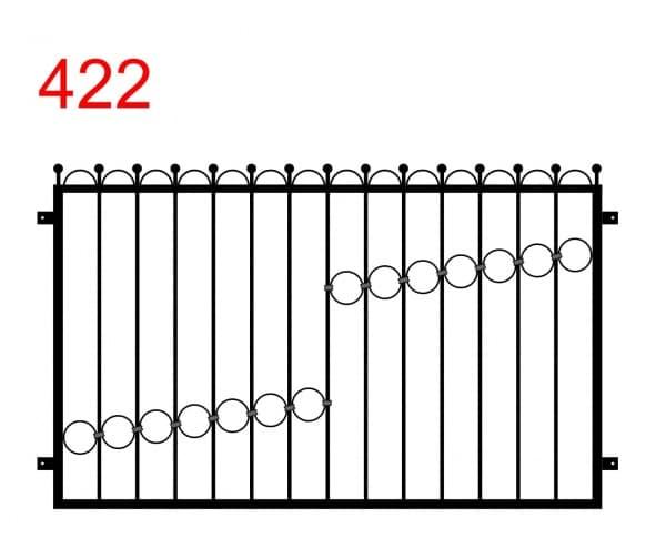 Muster eines Zauns oder Geländers mit leicht vorstehenden Stäben, die in Kreisen enden, und Kurven dazwischen sowie einem Muster aus Kreisen im Zaun
