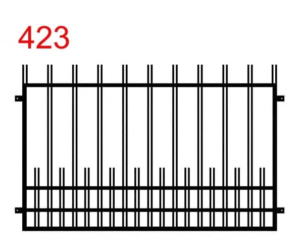 ein Zaun- oder Geländermuster mit leicht vorstehenden, eng beieinander liegenden Doppelstäben und dazwischen liegenden kleineren Doppelstäben