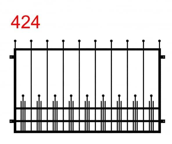 Muster eines Zauns oder einer Brüstung mit leicht vorstehenden Stäben, die in Rädern enden, und mit kleineren Stäben am Boden zwischen größeren Stäben, zwischen denen ein Stab in einem Rad endet