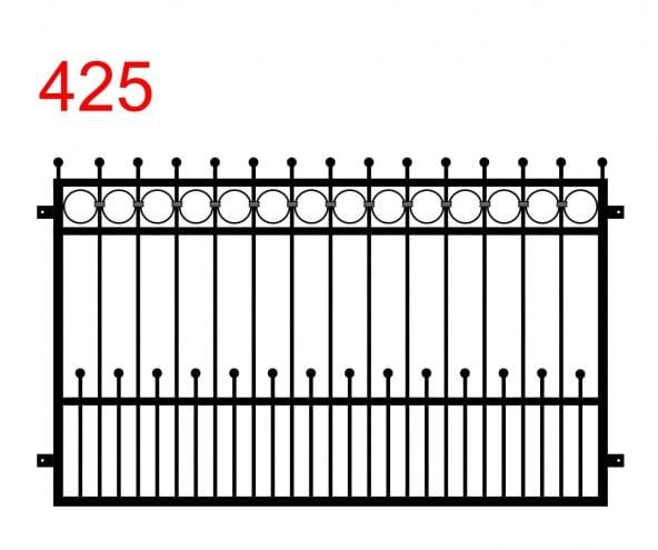 Muster eines Zauns oder einer Balustrade mit leicht vorstehenden Stäben, die in Kreisen enden, und mit kleineren Stäben am unteren Ende, die in einem Kreis enden, und einer Spur von Kreisen in der oberen Fuge