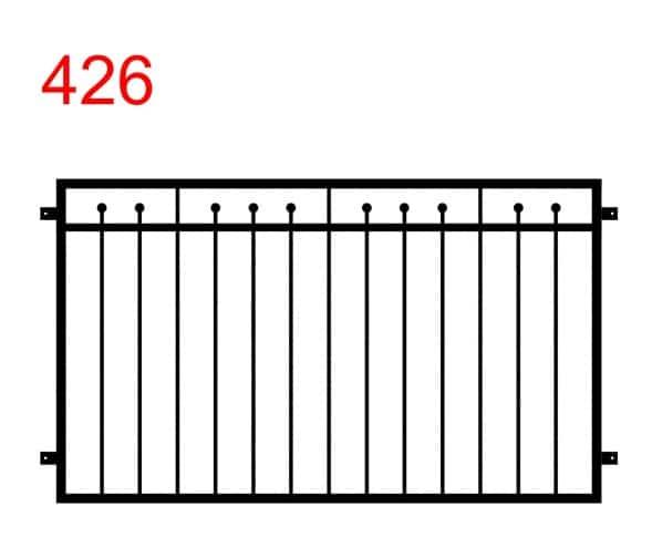eine einfache Zaun- oder Geländerkonstruktion mit einigen Stäben, die bis zur Mitte der oberen Gelenke reichen und in Kugeln enden