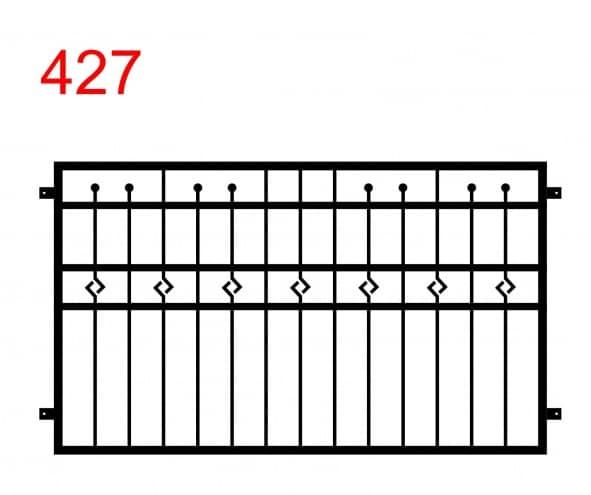 ein einfaches Muster für Zäune oder Balustraden mit einigen Stäben, die bis zur Mitte der oberen Gelenke reichen und in Kugeln enden, und einem speziellen Muster im mittleren Gelenk