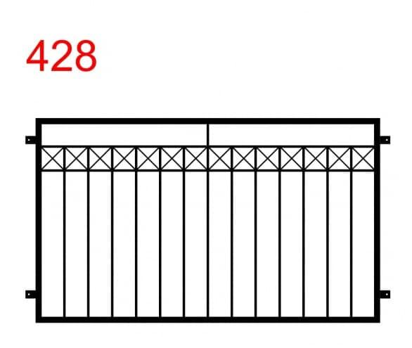 eine einfache Zaun- oder Geländerkonstruktion mit einem x-förmigen Muster in der oberen Fuge und einem längeren Stab in der Mitte