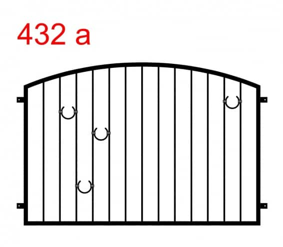 Muster eines Zauns oder einer Balustrade, die in einem Bogen endet, mit 3 hufeisenförmigen Mustern auf der linken und 1 auf der rechten Seite