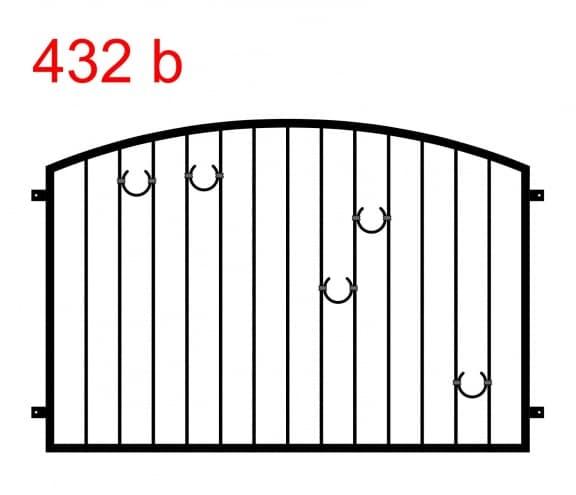 Muster eines Zauns oder einer Balustrade, die in einem Bogen endet, mit 2 hufeisenförmigen Mustern auf der linken und 3 auf der rechten Seite