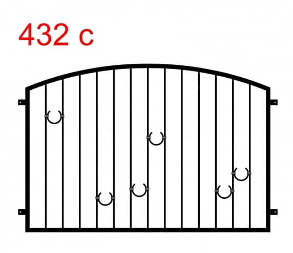 Muster eines Zauns oder einer Balustrade, die in einem Bogen mit 6 hufeisenförmigen Mustern endet