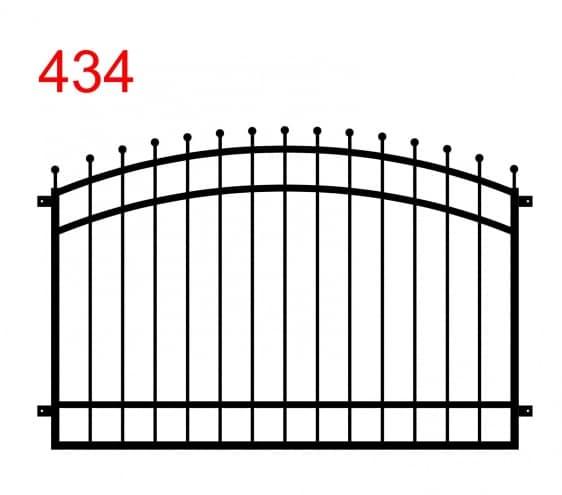 Zaun- oder Brüstungsdesign mit Doppelbogen und leicht vorspringenden Stäben, die in Kreisen enden