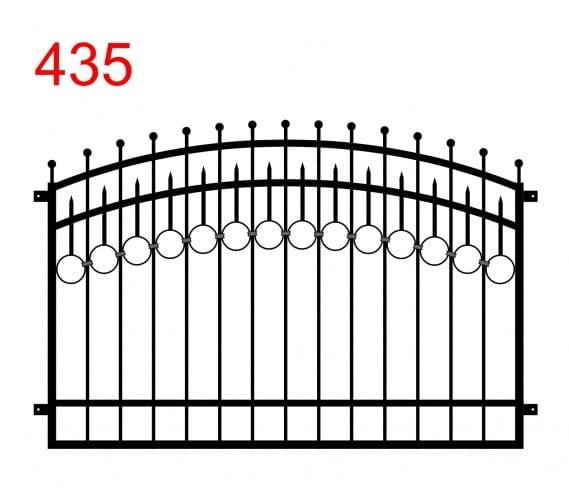 Zaun- oder Geländerdesign mit einem Doppelbogen und leicht vorspringenden Stäben, die in Kreisen enden, und einer Spur von Kreisen, die in Stäben enden