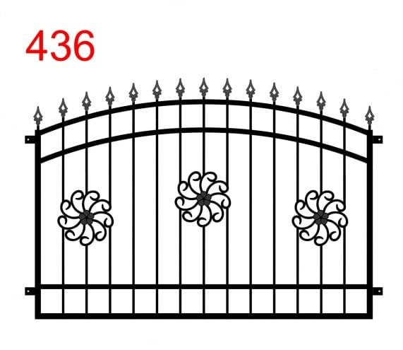Zaun- oder Geländerdesign mit einem Doppelbogen und leicht vorstehenden pfeilförmigen Stäben und Blumenmustern in der Mitte des Zauns
