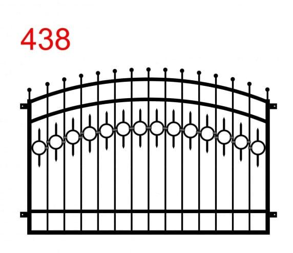 Ein Zaun- oder Geländermuster mit einem Doppelbogen mit leicht überstehenden Stäben, die in einem Kreis enden, und einer Spur von Kreisen mit einem kleinen Stab am oberen und unteren Ende