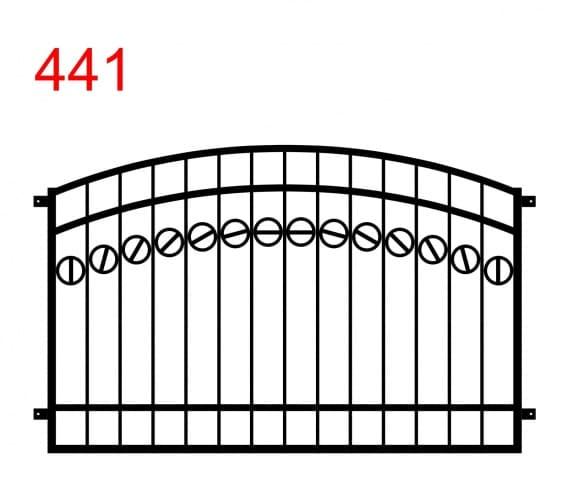 Muster für Zaun oder Geländer mit doppeltem Bogen mit einer Spur von Kreisen, die in der Mitte durch einen Stab geteilt sind