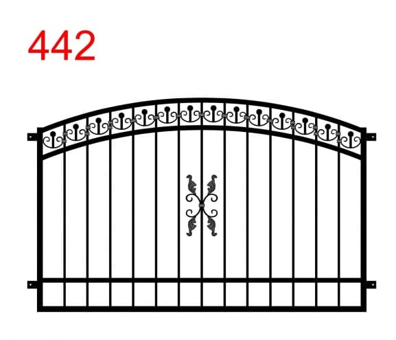 Zaun- oder Geländerdesign mit einem Doppelbogen mit einem ankerartigen Muster in der oberen Fuge und einem speziellen Muster in der Mitte