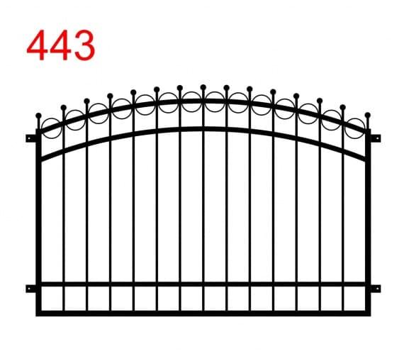 Muster für Zaun oder Geländer mit Doppelbogen mit leicht vorstehenden Stäben, die in einem Kreis enden und Kreise, die durch das obere Gelenk gehen