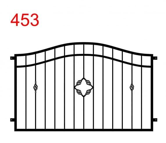 Muster für Zaun oder Brüstung mit Doppelbogen mit speziellem Muster aus eingekreisten Stern und spezieller Dekoration auf dem zweiten Stab vom Ende auf der linken und rechten Seite