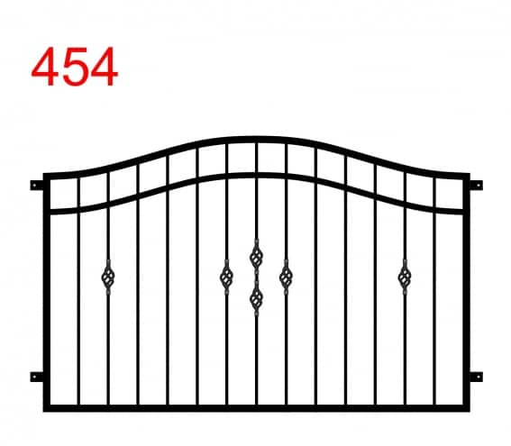 Zaun- oder Geländerdesign mit Doppelbogen mit Sonderdekoration in der Mitte und Sonderdekoration am 2. Stab vom Ende auf der linken und rechten Seite des Zauns