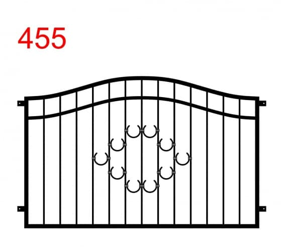 Zaun- oder Brüstungsmuster mit einem Doppelbogen aus einem Muster von speziell angeordneten Hufeisen