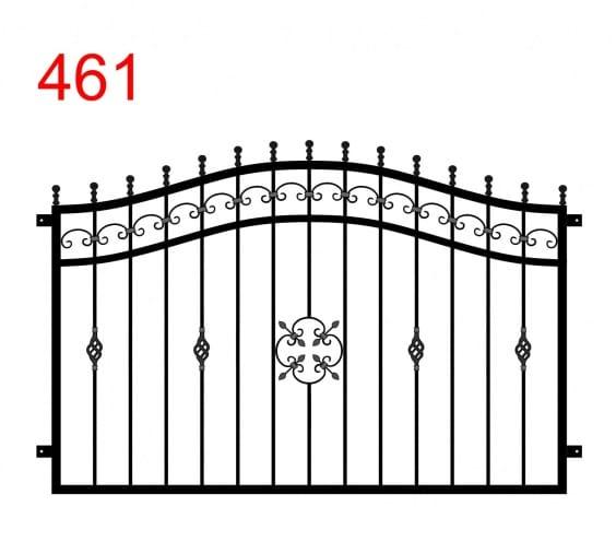 einfaches Zaundesign mit einem Doppelbogen mit leicht überstehenden Stäben, die in Kreisen enden, und einer Bogenspur im Oberlenker und speziellen Ornamenten